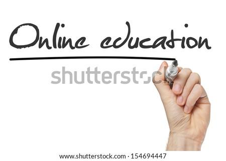 Online Education written on whiteboard isolated - stock photo