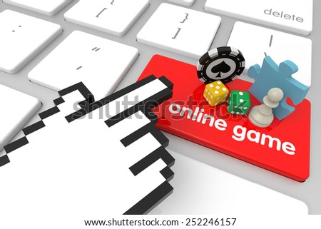 Online Game enter key with hand cursor. 3D rendering - stock photo