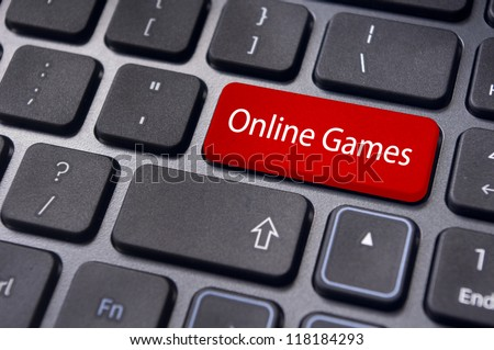 online games concepts, with message on enter key of computer keyboard. - stock photo