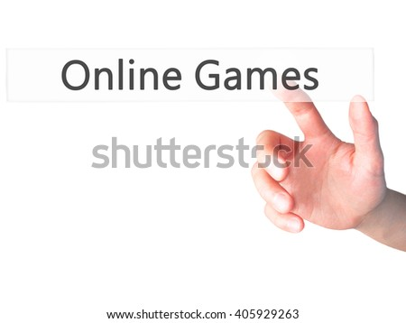 Online Games - Hand pressing a button on blurred background concept . Business, technology, internet concept. Stock Photo - stock photo