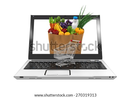 Online Grocery Shopping Illustration - stock photo