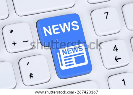 Online information newspaper news button on computer - stock photo