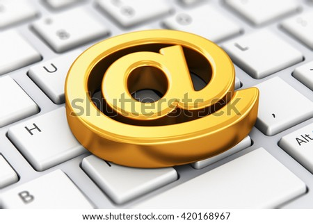 Online internet communication and network connection digital technology business web concept: 3D illustration of shiny golden metallic email AT symbol on computer PC or laptop notebook keyboard - stock photo