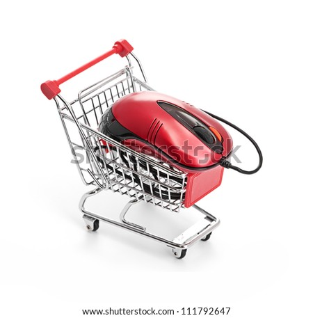Online Internet Shopping. isolated on a white background - stock photo