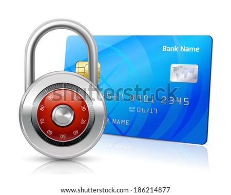 Online internet shopping payments by credit card with chip security concept isolated  illustration - stock photo