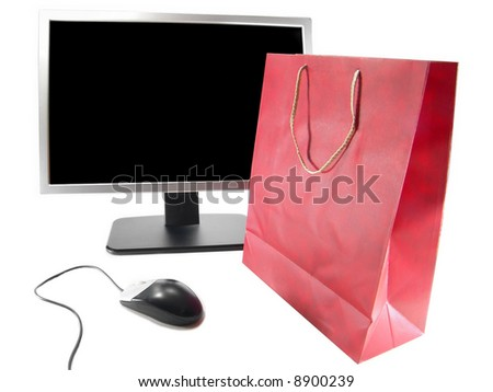 Online Internet Shopping, Wide Screen LCD Computer Monitor, Mouse and Gift bag (Isolated on white background) - stock photo