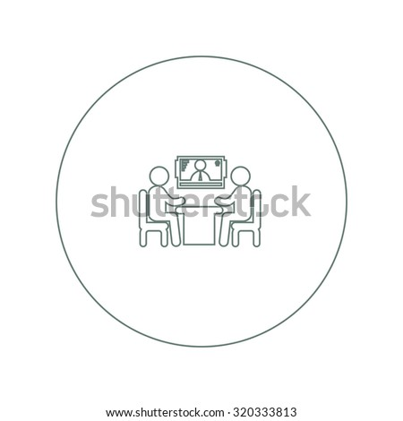 online interview - video conference - online meeting - two human figures sitting around the table talking, with a human figure in the screen at the background - concept flat style - stock photo