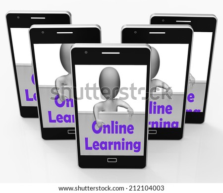 Online Learning Sign Phone Meaning E-Learning And Internet Courses - stock photo