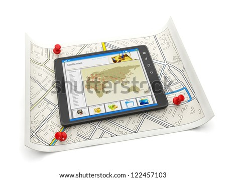 Online maps of various cities. Tablet PC with a site map and a map of the city of close-up on white background - stock photo