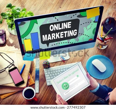 Online Marketing Promotion Branding Advertisement Concept - stock photo