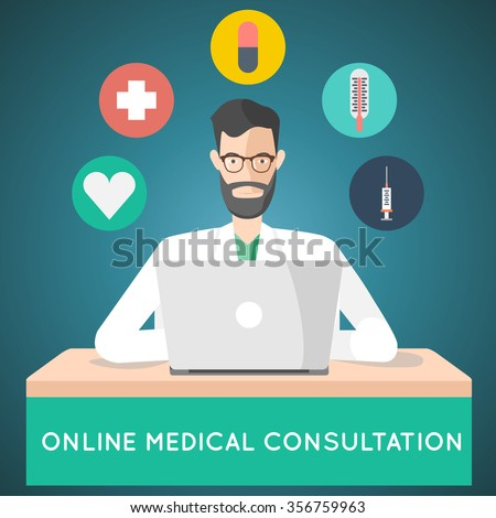 online medical consultation. treatment via internet doctor illustration - stock photo