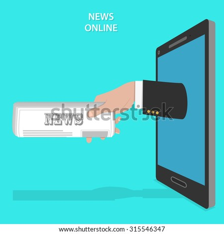 Online news service flat concept. Mans hand with newspaper roll appears from smartphone screen. - stock photo