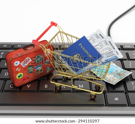 Online order air tickets concept. Passports, airline tickets, passport with air tickts in the shopping cart and world map on the keyboard. Fast order air tickets. - stock photo