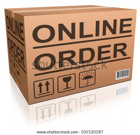 online order from internet web shop package in cardboard box webshop icon - stock photo