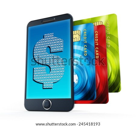 Online payment concept with credit cards and smartphone - stock photo