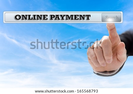 Online payment written in search bar on virtual screen. - stock photo