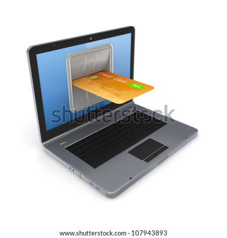 Online payments concept.Isolated on white background.3d rendered. - stock photo