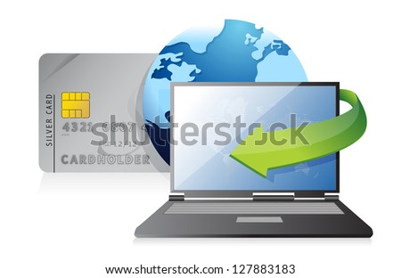 Online payments credit card concept illustration design over white - stock photo