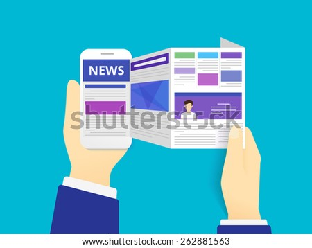 Online reading news. illustration of online reading news using smartphone - stock photo