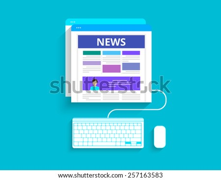 Online reading news using computer - stock photo