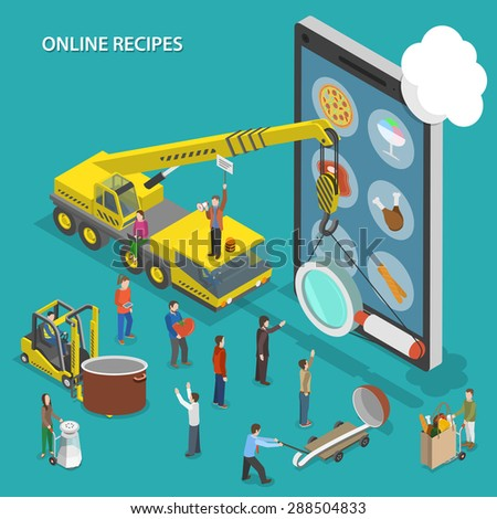 Online recipes flat isometric conceptual illustration. People are going to cook some dish and looking its recipe using mobile device. - stock photo