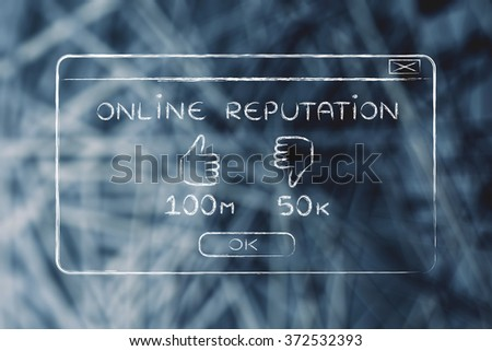 online reputation and user feedback: pop-up window with thumbs up & positive results - stock photo