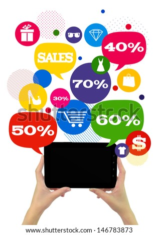 Online sales shopping or shop business template./ Hands holding tablet, colorful bubbles/buttons floating of it with online shopping icons and sales percents. - stock photo