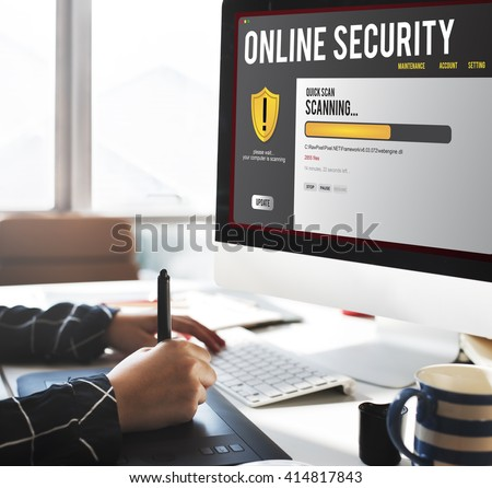 Online Security Protection Hacking Virus Concept - stock photo