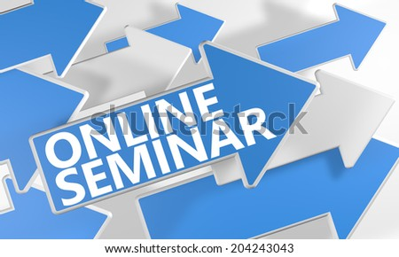 Online Seminar 3d render concept with blue and white arrows flying over a white background. - stock photo
