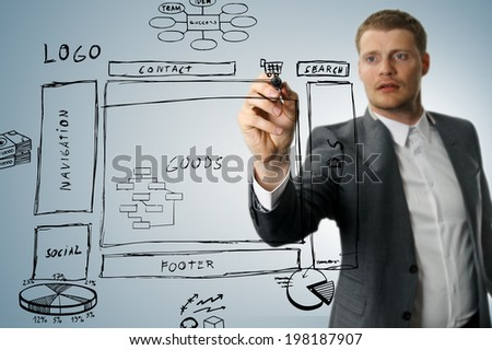 online shop development wireframe sketch - stock photo