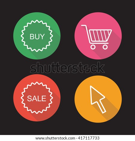 Online shop flat linear icons set. Buy and sale badges, basket, mouse click symbol. Electronic commerce, web store, marketing and business. Long shadow logo concepts. Raster line art illustrations - stock photo