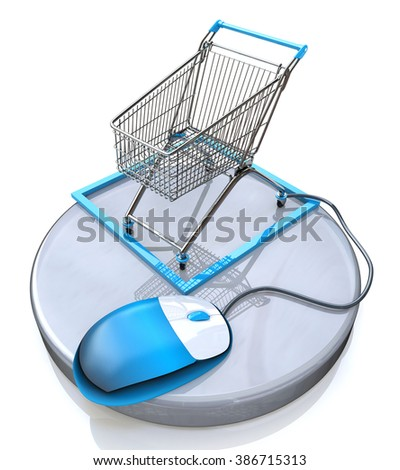 Online shopping, blue computer mouse connected to a shopping cart in the design of information related to e-commerce - stock photo