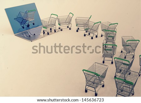 Online shopping concept 3d as vintage style concept - stock photo