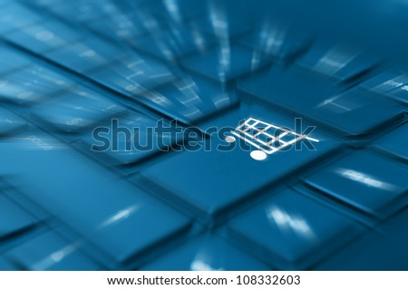 Online Shopping Concept - Detail of Key With Cart Symbol on Keyboard - stock photo