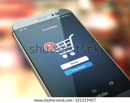 Online shopping concept. Mobile phone or smartphone with cart on the screen. 3d - stock photo