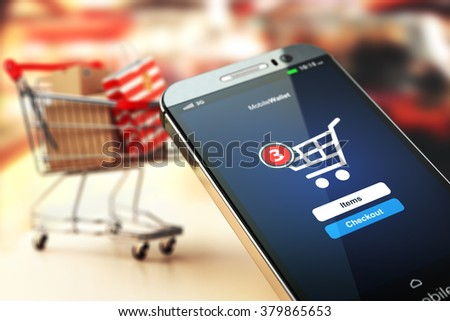Online shopping concept nackground. Mobile phone or smartphone with cart and boxes and bag. 3d - stock photo