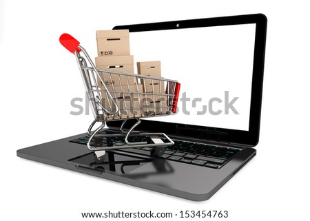 Online shopping concept. Shopping Cart with Boxes over Laptop on a white background - stock photo