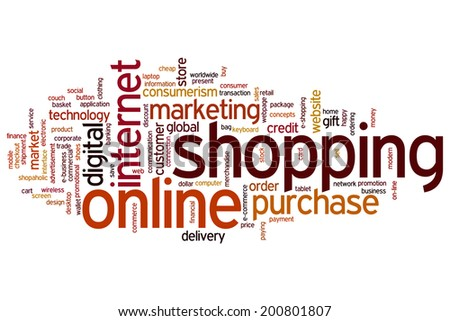 Online shopping concept word cloud background - stock photo