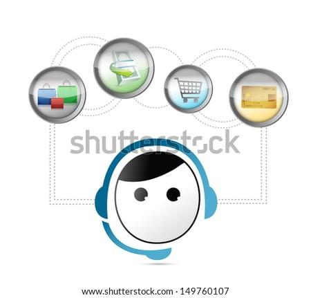 online shopping customer care support concept illustration design over white - stock photo