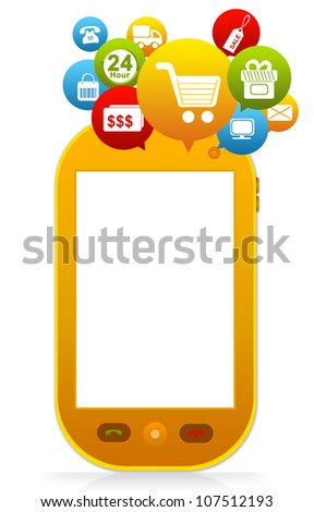 Online Shopping on Mobile With Space for Text Message Isolated on White Background - stock photo