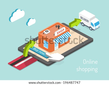 Online shopping. Purchase, payment and delivery 3d infographics - stock photo