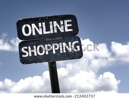 Online Shopping sign with clouds and sky background  - stock photo