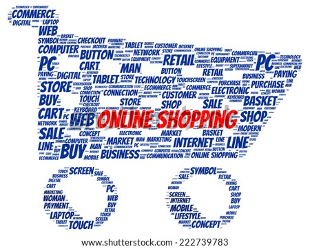 Online shopping word cloud shape concept - stock photo