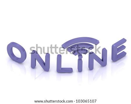 online signal on white background - stock photo