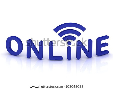 online signal sign with blue letters on white background - stock photo
