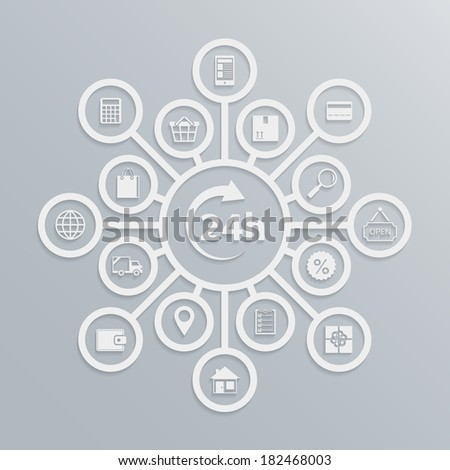 Online store 24 hours customer service diagram, how e-commerce website works  illustration - stock photo