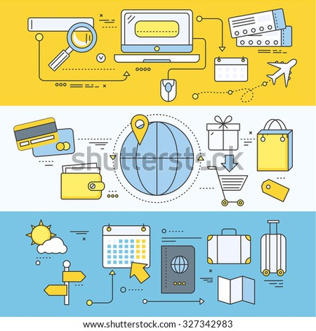 Online ticket reservation and booking accommodation. Transportation pay, search journey, offer voyage, reserve order travel, internet and flight. Set of thin, lines flat icons. Raster version - stock photo