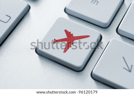 Online tickets key on the keyboard. Toned Image. - stock photo
