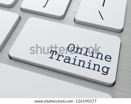 Online Training - Button on Modern Computer Keyboard. - stock photo