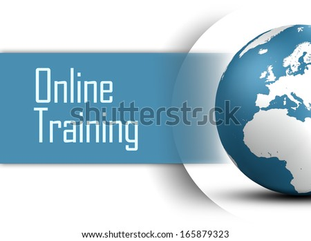 Online Training concept with globe on white background - stock photo
